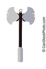 Viking Poleaxe in Flat - Viking poleaxe in flat. Cartoon...