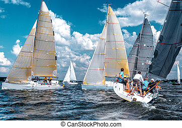Match race.Sailing yacht race, picture with space for text...