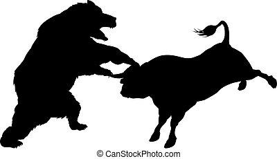 Bull Versus Bear Silhouette Concept - Bear fighting bull in...