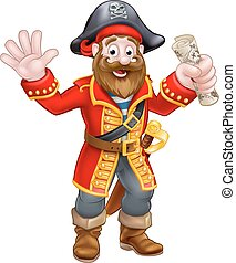 Cartoon Pirate Holding Map - A cartoon pirate man holding a...