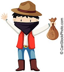 Kid in robber costume illustration