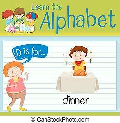 Flashcard letter D is for dinner illustration