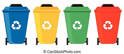 Four colors of rubbish cans illustration