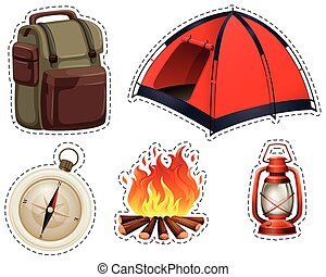 Camping set with tent and campfire illustration