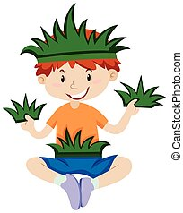 Boy in grass outfit illustration