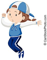 Little girl in blue jumpsuit exercise illustration