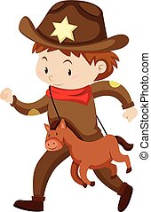 Boy in cowboy outfit with toy horse illustration