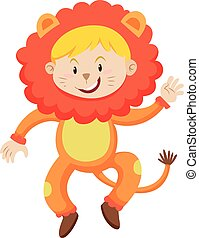 Kid in lion costume illustration