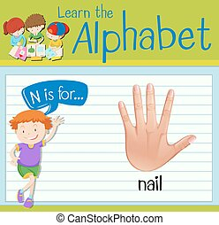 Flashcard letter N is for nail