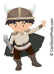 Boy in viking costume illustration