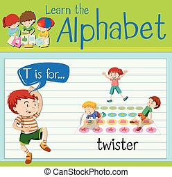Flashcard letter T is for twister illustration