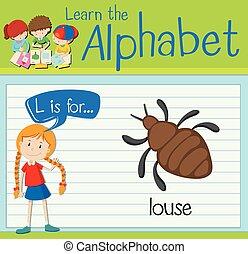 Flashcard letter L is for louse illustration
