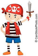 Little boy dressed up as pirate crew illustration