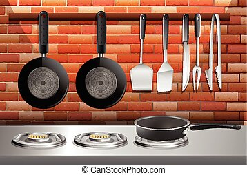 Kitchen scene with pots and stoves illustration
