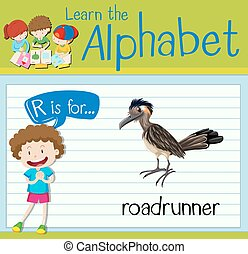Flashcard letter R is for roadrunner illustration