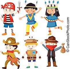 Children in different costumes illustration