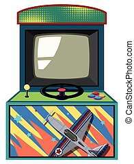Arcade game box with flying jet illustration