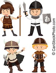 Four kids in warrior costume illustration