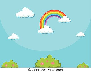 Background template with rainbow in blue sky