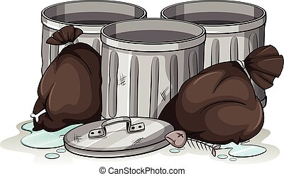 Trashcans and garbage bags illustration