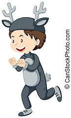 Kid in wild deer costume illustration