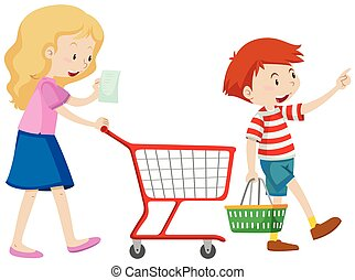 Boy and mother shopping for grocery illustration