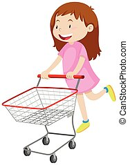 Girl pushing shopping cart illustration