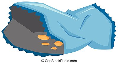 Blue plastic bag with chips illustration