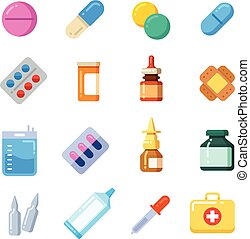 Medicine cartoon pill, drug, table, antibiotics, medication...