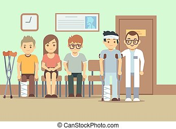 Patients in doctors waiting room at the hospital, medical...