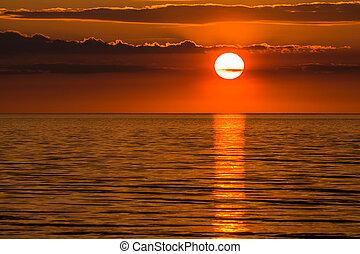 A sunset on the Baltic Sea coast.