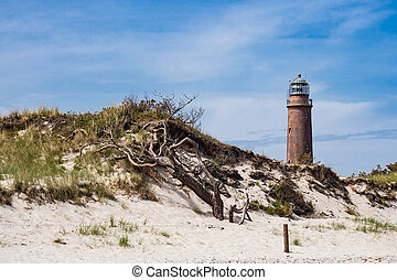 Lighthouse on shore of the Baltic Sea.