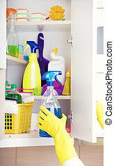 Cleaning supplies storing in pantry - Woman with safety...