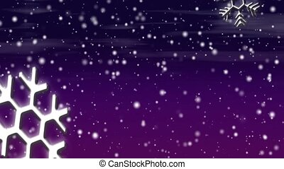 Let it Snow Purples HD Loop - Snow flakes, large and small,...