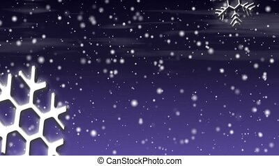 Let it Snow Violet HD Loop - Snow flakes, large and small,...