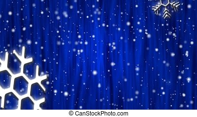 Let It Snow Cobalt Curtain HD Loop - Snow flakes, large and...