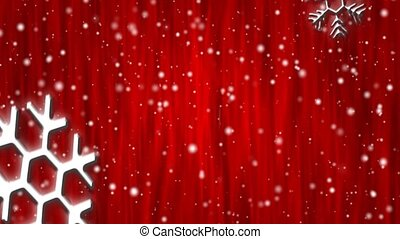 Let It Snow Crimson Curtain HD Loop - Snow flakes, large and...