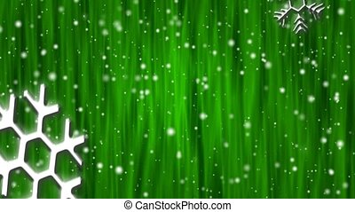 Let It Snow Emerald Curtain HD Loop - Snow flakes, large and...