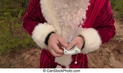 Santa Claus counting money