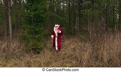 Santa Claus coming out from woods