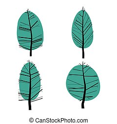 Set of abstract  stylized illustration of  trees