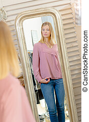 girl fitting a blouse