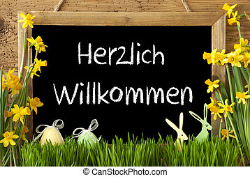 Narcissus, Easter Egg, Bunny, Herzlich Willkommen Means...