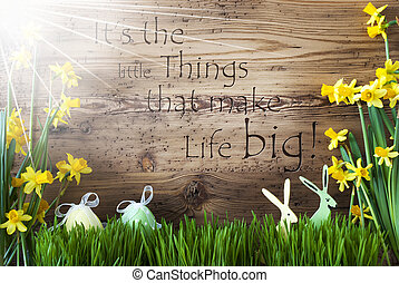 Sunny Easter Decoration, Gras, Quote Little Things Make Life...