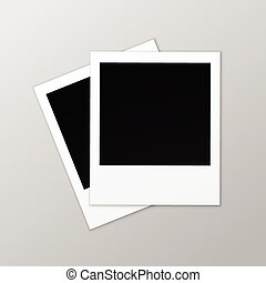 Blank Retro Photo Frames Close up on Background - Vector...