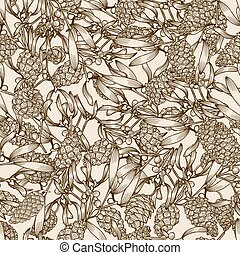 mistletoe and pine cones - Hand drawn mistletoe and pine...