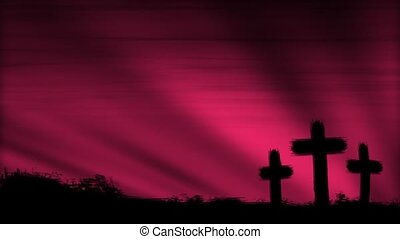 Crosses 3 Mauve HD Loop - Three crosses silhouetted by a...