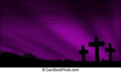 Crosses 3 Magenta HD Loop - Three crosses silhouetted by a...