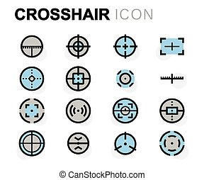Vector flat crosshair icons set on white background