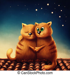 Red cats in love - Illustration of red cats in love